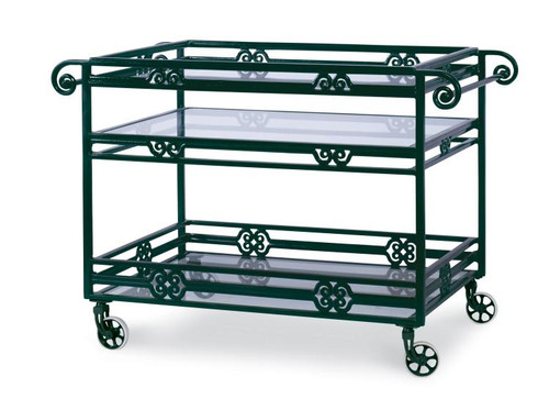 """30"""" Century Furniture Augustine Metal Bar Cart with Tempered Glass - 1"""