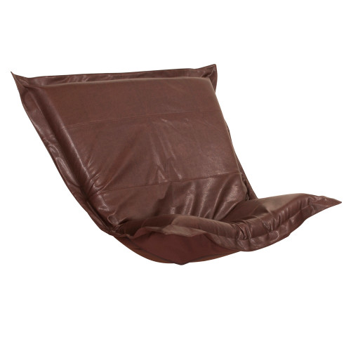Howard Elliott Puff Chair Cushion Faux Leather Avanti Pecan Cushion and Cover Only - 1