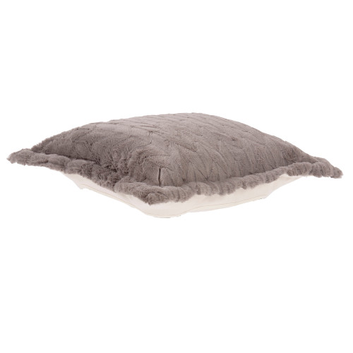 Howard Elliott Puff Ottoman Cushion Faux Fur Angora Stone Polyester Cushion and Cover Only - 1