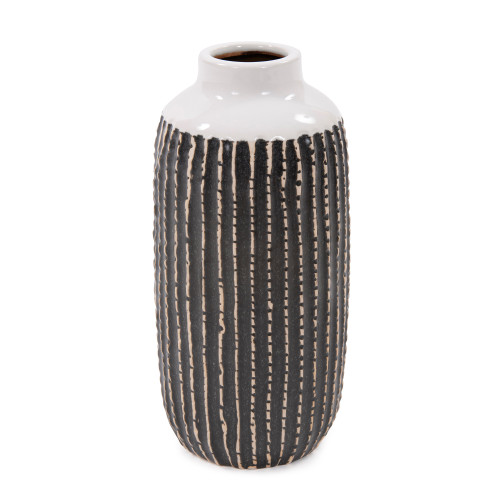 Howard Elliott Terra Striped Stoneware Ceramic Vase - Large - 1