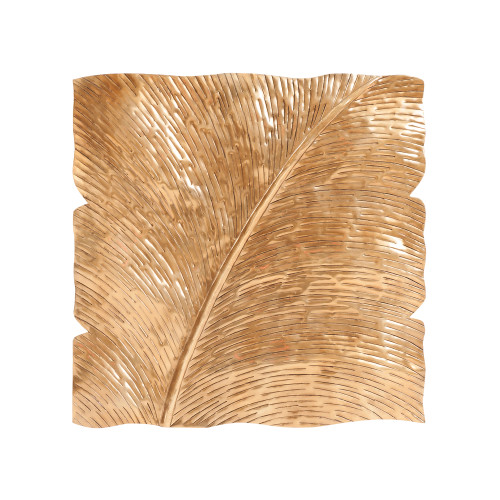 "18"" x 18"" Howard Elliott Square Leaf Aluminum Wall Decorative Art - Antique Gold Medium - 1"