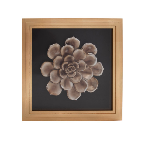 "15"" x 15"" Howard Elliott Camellia Flower Wood Wall Framed Art - 1"