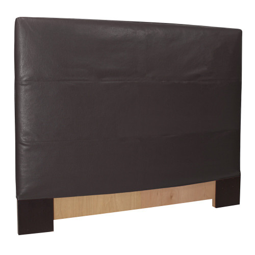 "48"" Howard Elliott Twin Slipcovered Headboard Faux Leather Avanti Black - Base and Cover Included - 1"