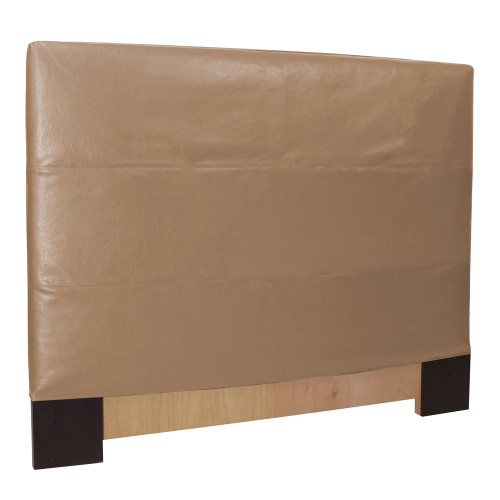 "48"" Howard Elliott Twin Slipcovered Headboard Faux Leather Avanti Bronze - Base and Cover Included - 1"