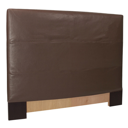 "48"" Howard Elliott Twin Slipcovered Headboard Faux Leather Avanti Pecan - Base and Cover Included - 1"