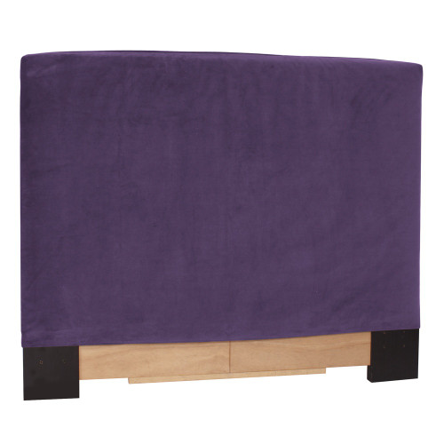 "48"" Howard Elliott Twin Slipcovered Headboard Velvet Bella Eggplant - Base and Cover Included - 1"