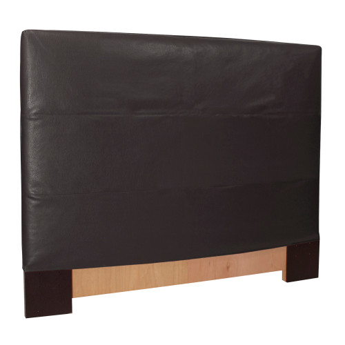 "53"" Howard Elliott FQ Slipcovered Headboard Faux Leather Avanti Black - Base and Cover Included - 1"