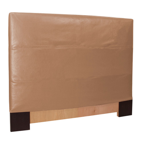 "53"" Howard Elliott FQ Slipcovered Headboard Faux Leather Avanti Bronze - Base and Cover Included - 1"