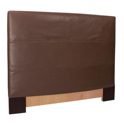 "53"" Howard Elliott FQ Slipcovered Headboard Faux Leather Avanti Pecan - Base and Cover Included - 1"