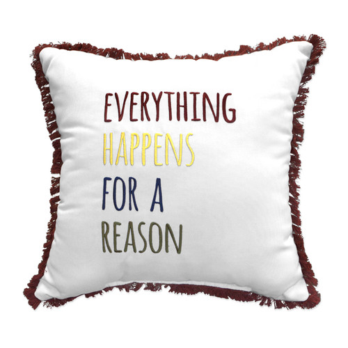 Peak Season Everything Happens For A Reason Embroidery Pillow - 1