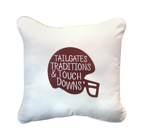 Peak Season Tailgates, Traditions, Touchdowns Embroidery Pillow - 1