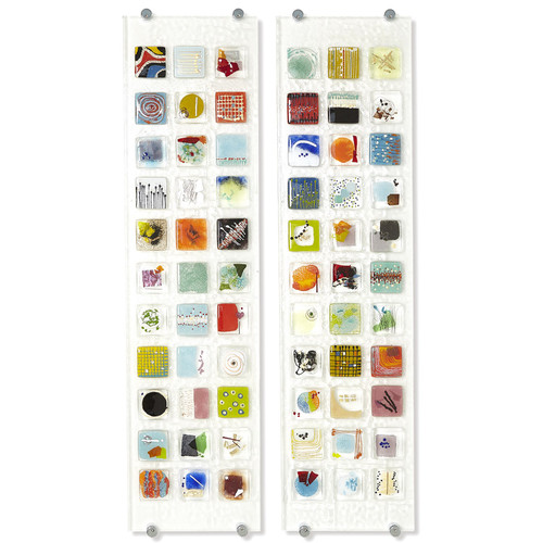 "12"" x 45"" Global Views Fused Glass Art Panel 1 - 1"