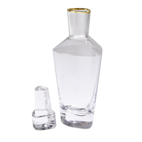 Global Views Hammered Decanter - Clear with Gold Rim - 1