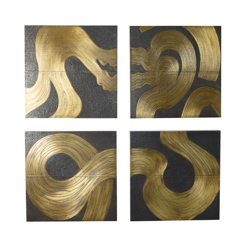 """24"""" x 24"""" Global Views Currents Wall Panel - Brass/Bronze - C - 1"""