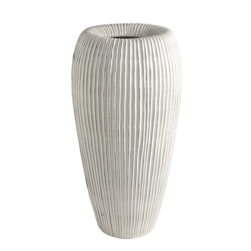 Global Views Baleen Cachepot - Ivory with Brown Edge - 1