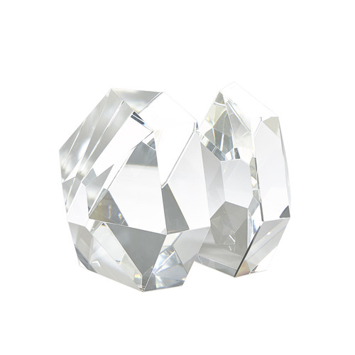 Set of 2 Global Views Crystal Bookends - Clear - 1