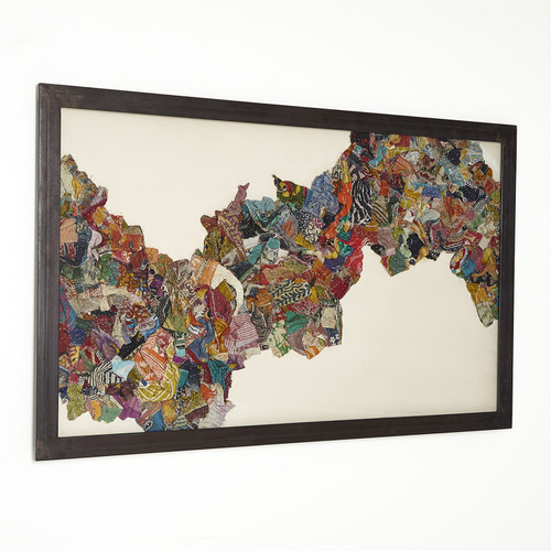 """30"""" x 48"""" Global Views Kantha S Abstract Design Framed Art with Metal Frame - 1"""