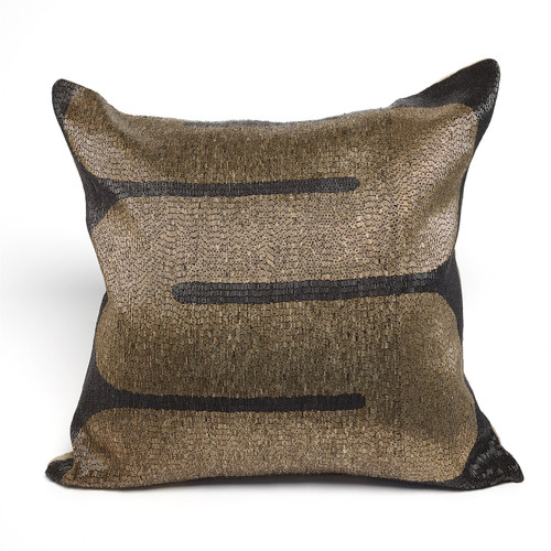 Global Views River Beaded Pillow - Black/Gold - 1