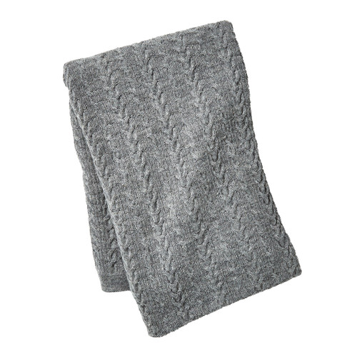 Global Views Cable Knit Alpaca Wool Throw - Grey - 1