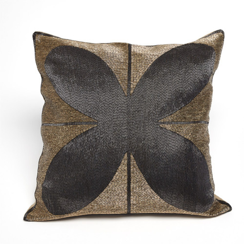 Global Views Blossom Beaded Pillow - Gold/Black - 1
