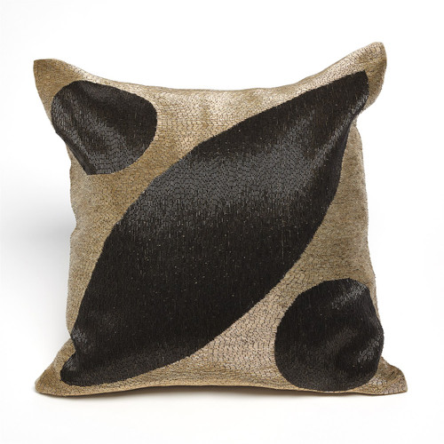 Global Views Seed Beaded Pillow - Gold/Black - 1