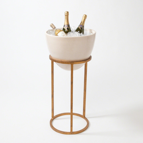 Global Views Wise Egg Wine Rack- Antique Gold Leaf - Small - 1