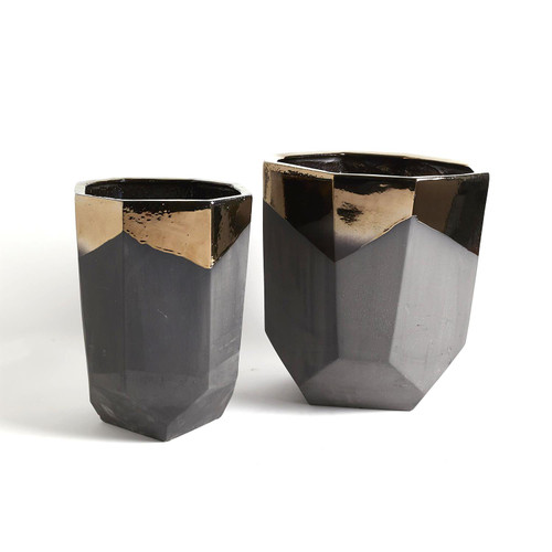Global Views Faceted Banded Bronze Container - Small - 1