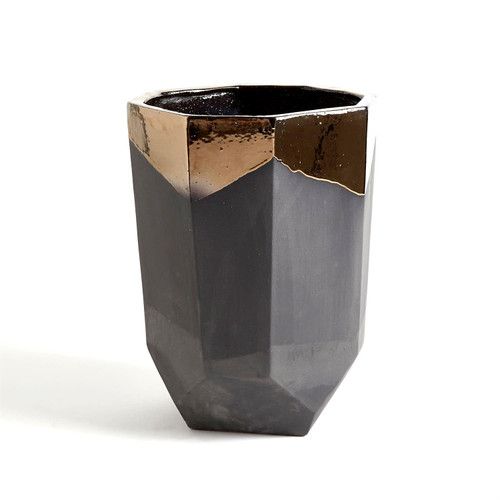 Global Views Faceted Banded Bronze Container - Medium - 1