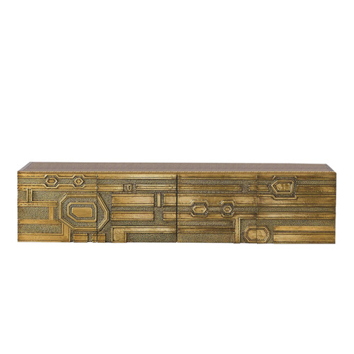 Global Views Abstract Block Floating Shelf - Brass - 1
