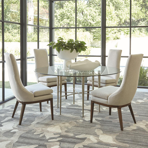 """28"""" Global Views Hammered Dining Table with Glass Top - Nickel Plated - 1"""