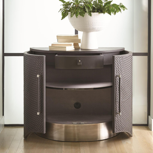 "36"" Global Views Milan Demi Lune Chest - Charcoal Leather - 1"