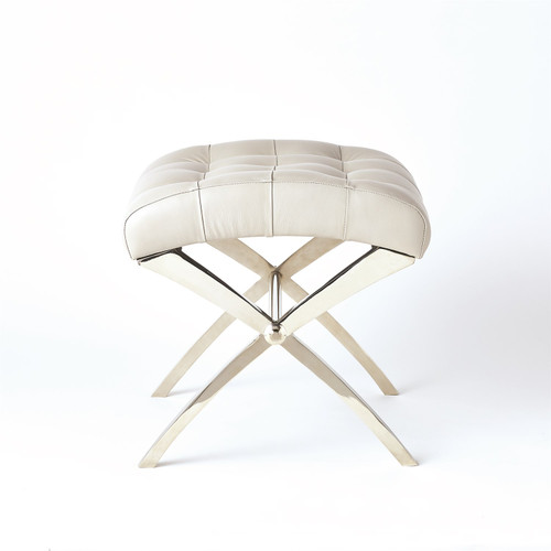 """18"""" Global Views Scarlet Accent Stool - Nickel with Grey Leather - 1"""