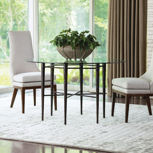 """28"""" Global Views Hammered Dining Table with Glass Top - Bronze 1 - 1"""
