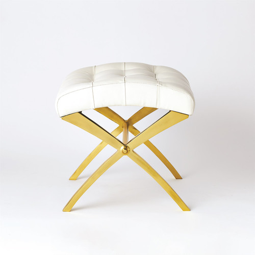 """18"""" Global Views Scarlet Accent Stool - Brass with White Leather - 1"""