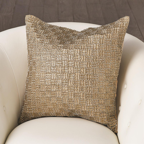 Global Views Beaded Basketweave Pillow - Antique Gold - 1