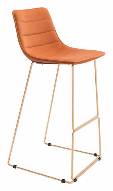 """40"""" Zuo Adele Steel Bar Chair - Orange and Gold - 1"""