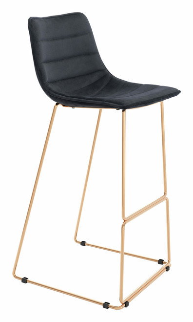 """40"""" Zuo Adele Steel Bar Chair - Black and Gold - 1"""