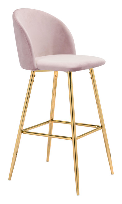 """41"""" Zuo Cozy Steel Bar Chair - Pink - 1"""
