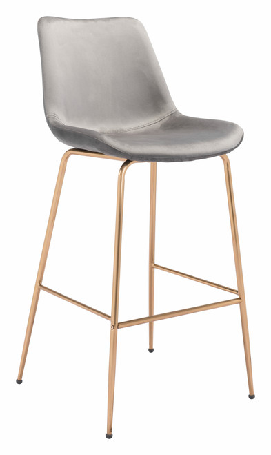 """43"""" Zuo Tony Steel Bar Chair - Gray and Gold - 1"""