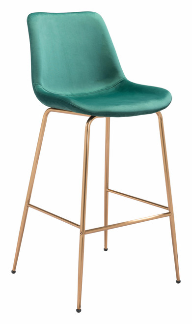 """43"""" Zuo Tony Steel Bar Chair - Green and Gold - 1"""