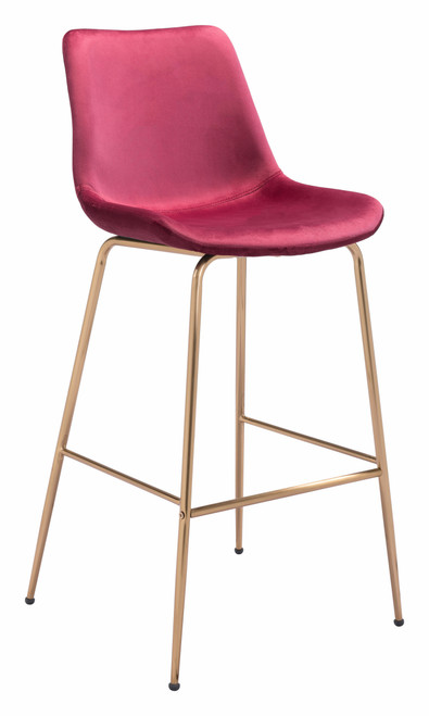 """43"""" Zuo Tony Steel Bar Chair - Red and Gold - 1"""