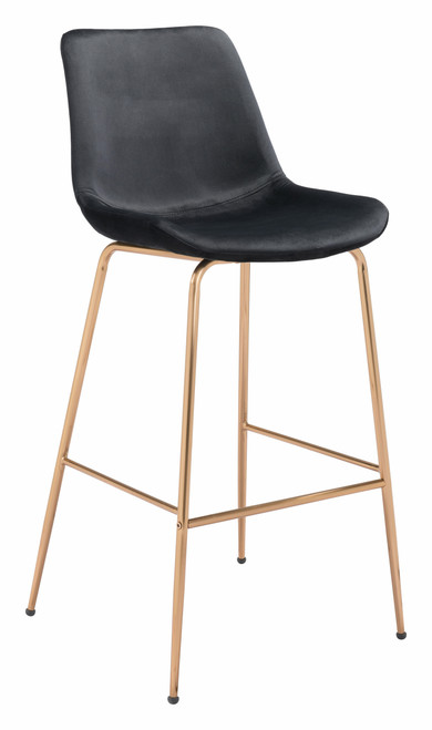 """43"""" Zuo Tony Steel Bar Chair - Black and Gold - 1"""