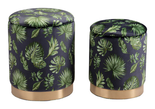"Set of 2 18"" Zuo Benson Steel Storage Ottoman - Green - 1"