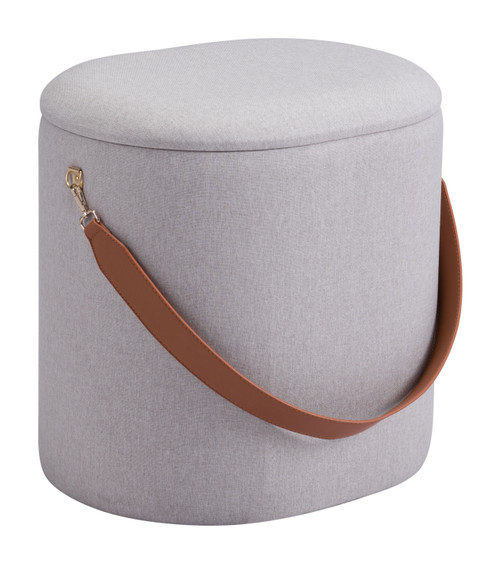 "17"" Zuo Harriet Steel Storage Ottoman - Beige - 1"