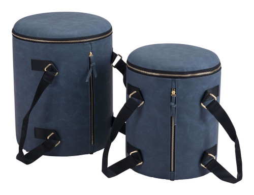 "Set of 2 18"" Zuo Candice Steel Storage Ottoman - Blue - 1"
