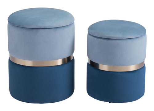 "Set of 2 18"" Zuo Lilith Steel Storage Ottoman - Blue - 1"