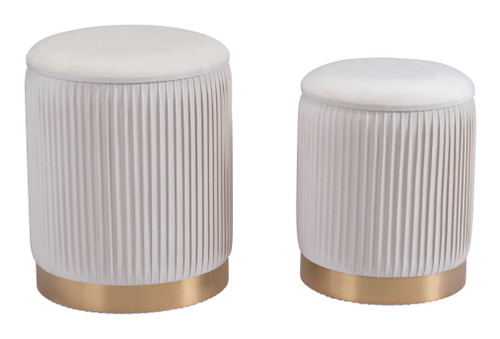 "Set of 2 18"" Zuo Meredith Steel Storage Ottoman - Beige - 1"