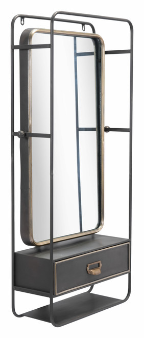 Zuo Industrial Storage Steel Wall Mirror - Gunmetal and Gold - 1