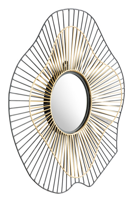 Zuo Comet Round Wall Mirror - Black and Gold - 1