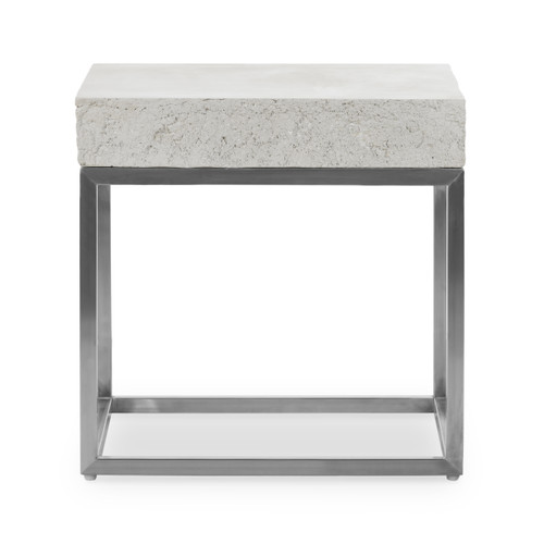 """22"""" Four Hands Delrio Outdoor End Table - Blanc White - 1"""